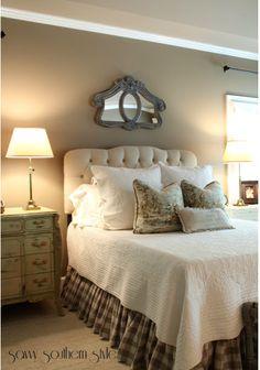 Bedroom - plaid bed skirt