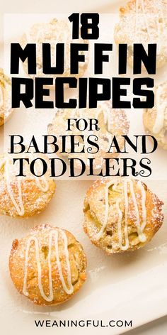 18 muffin recipes for babies and toddlers These baby led weaning muffins make great finger food and first foods for babies and toddlers alike and with 18 to choose from, you're bound to satisfy the picky eaters too! Baby Led Weaning First Foods, Weaning Foods, Baby First Foods, Baby Muffins, Toddler Finger Foods, Toddler Snacks, Muffin Recipes, Baby Food Recipes, Healthy Recipes