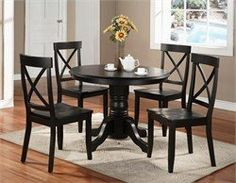 Dining Room Furniture Set in Black - 5178-DSET-1 by Home Styles. $2855.20. Includes:1 x Round Pedestal Dining Table (5178-30)2 x Side Chair (Set of 2) in Black (5178-80)Features:Table Features:Solid hardwood constructionSturdy pedestal style footed baseEasy to assembleChair Features:Solid hardwood constructionHigh back, criss-cross designed, contoured chair for dining comfortEasy to assembleDimensions:Table: 42(W) x 42(D) x 30(H)Chair: 19(W) x 22 1/2(D) x 38 3/4(H...