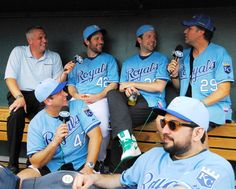Joel Goldburg, Paul Rudd, Jason Sudeikis, Will Ferrell, Rob Riggle, and Horatio Sands.  K.C. Proud!  http://royals.mlblogs.com/2010/06/04/bobby-cannavale-will-ferrell-rob-riggle-paul-rudd-horatio-sanz-jason-sudeikis-at-the-k/