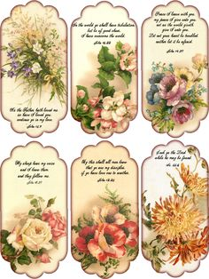 Floral printable tags with scriptures