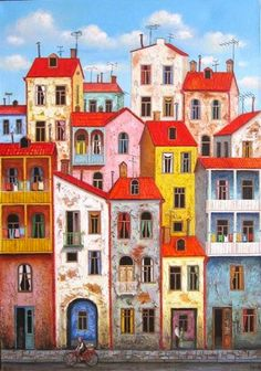 Oil painting Georgia art Tbilisi by UkrainianWeddingArts on Etsy Naive Art, Painting Inspiration, Home Art, Painting & Drawing, Watercolor Paintings, Art Drawings, Art Projects, Illustration Art, Wall Installation