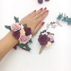 Ivory Wedding Flowers, Burgundy And Blush Wedding, Prom Flowers, Prom Corsage And Boutonniere, Bridesmaid Corsage, Corsage Wedding, Wrist Corsage Bracelet, Wedding Flavors, Homecoming Corsage