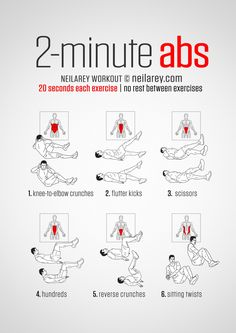 Instructions : Repeat each move for 20 seconds one after the other with no rest in between. It will take a total of 2 minutes to complete.