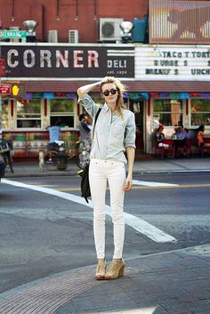 Light denim top & white skinny bottoms? Yes. I will switch you up this spring.