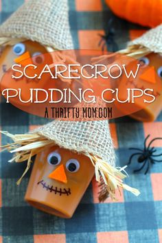 Scarecrow Pudding Cups - A Thrifty Mom - Recipes, Crafts, DIY and more Thanksgiving Snacks, Free Thanksgiving Printables, Halloween Crafts For Kids, Fall Crafts, Kids Crafts, Party Crafts, Halloween Treats, Pudding Cups, Paper Candy