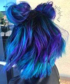 Blue Hair Pink, Purple Hair and Rainbow Hair Colors Peacock Hair Color Looks Beautiful Hair Color, Cool Hair Color, Hair Colors, Amazing Hair Color, Brown Ombre Hair, Ombre Hair Color, Blue Ombre, Peacock Hair Color, Pink Purple Hair