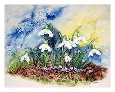 """Maria Inhoven, """"Schneeglöckchen1"""" (76) Mit einem Klick auf """"Als Kunstkarte versenden"""" versenden Sie kostenlos dieses Werk Ihren Freunden und Bekannten."""