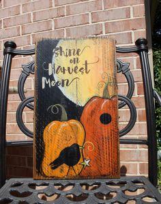 Fall Decor Wood Sign Shine on Harvest Moon Autumn by TinSheepShop