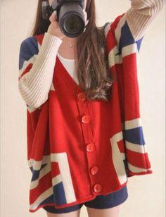 LQ Fashion  Lady girl cardigan British Union Jack flag sweater spring bat coat
