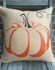 FALL PUMPKIN PILLOW - waxed burlap pumpkin slipcover only with burnt orange and brown curly stem Pumpkin Pillows, Fall Pillows, Diy Pillows, Throw Pillows, Pillow Ideas, Cushions, Burlap Pumpkins, Fall Pumpkins, Pillow Slip Covers