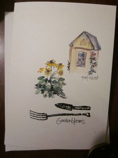 Garden Watercolor Card by gardenblooms on Etsy, $3.50