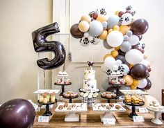 A full view of the fun dessert table for the puppy party by with close ups of the choc pops by… Dog Themed Parties, Puppy Birthday Parties, Birthday Party Desserts, Puppy Party, Boy First Birthday, Dog Birthday, Carlin, Animal Birthday, Animal Party