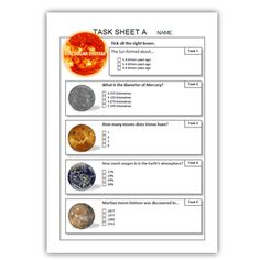 SOLAR SYSTEM task sheets ( The Sun Planets Astronomers )
