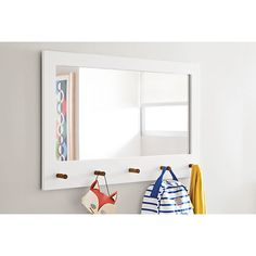 Room & Board - Fedora 40x25 White Mirror with Pegs