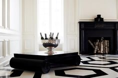 Library: black and white painted floors and the Ralph Lauren Brook Street coffee table Luxury Interior, Luxury Furniture, Home Furniture, Modern Furniture, Interior Design, Wicker Furniture, Table Furniture, Made Coffee Table, Coffee Table Design