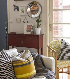 Mix and match your textiles like Jessica in Australia | Stripy yellow cushion looks great with the STOCKHOLM black and white one | A touch of vintage and modern in her living room | Follow her at eclecticcreative.com.au | live from IKEA FAMILY