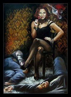 """""""BLACK WIDOW"""" oil on canvas 50x70 cm, 2015 United Kingdom aut. Katarzyna Waszewska"""