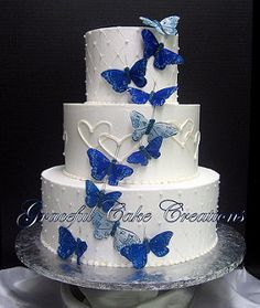 Elegant White Wedding Cake with Butterflies and Hearts | by Graceful Cake Creations