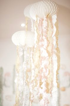 Hanging jellyfish decorations from a Whimsical Mermaid Birthday Party on Kara's Party Ideas | KarasPartyIdeas.com (43)