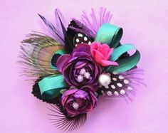 Unusual Wrists Corsage for Prom   Purple Ranunculus and Peacock Wedding/Prom by EmilyKBotanicStudio