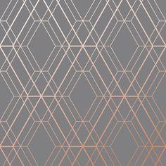 Metro Diamond Geometric Wallpaper - Charcoal and Copper - World of Wallpaper Grey Copper Wallpaper, Geometric Wallpaper Charcoal, Metallic Wallpaper, Geometric Wallpaper Living Room, Copper Living Room, Copper Bedroom, Living Room Grey, Wallpaper Wall, Paper Wallpaper
