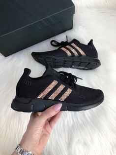 Bling Adidas - Adidas Swift - Swarovski Adidas Gloednieuw in Cool Adidas Shoes, Black Adidas Shoes, Adidas Shoes Women, Black Sneakers, Adidas Running Shoes, Nike Women, Adidas Nmd, Casual Tennis Shoes Women, Casual Shoes