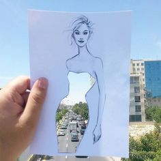 Architect and fashion illustrator Shamekh Completes His Cut-Out Sketches With Everyday Scenes