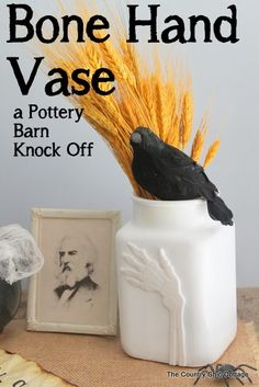 Bone Hand Vase Pottery Barn Knock Off -- come see how to make your own bone hand vase quickly and easily with this Halloween craft tutorial....