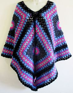 Vintage Retro Hand Crafted Multi Coloured Crochet Poncho Cape Hippy NEW
