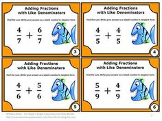 Fractions FREE: You will receive 6 free fraction task cards focusing on adding fractions with like denominators. You will also receive a student response form and answer key. 3rd Grade Fractions, Adding Fractions, Math Fractions, 4th Grade Math, Third Grade, Free Math Worksheets, Math Resources, Math Activities, Special Education Math