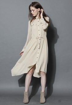 Comfy Hi-lo Shirt Dress in Beige - New Arrivals - Retro, Indie and Unique Fashion