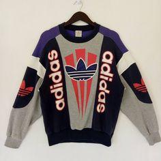 3c98c744ceb1 Adidas VINTAGE ADIDAS big logo sweatshirt   embroidered Casual pullover  crewneck hip hop Rap sport streetwear