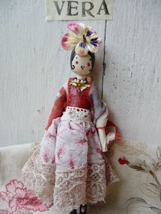 Other Dolls Humor Vintage Handmade Wooden Bead Head Doll Pink Floral Embroidered Dress