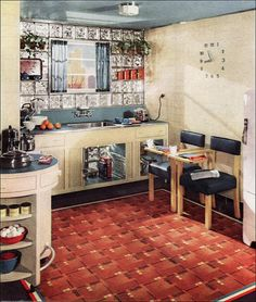 """For Busy Young Moderns"" is the subtitle for this little kitchen in a 1939 brochure published by Armstrong Cork. I love the glass block wall and the built in clock. The round counter at left is a movable table for food prep. 1930s Decor, Vintage Decor, Vintage Designs, Glass Blocks Wall, Block Wall, Vintage House Plans, Vintage Homes, House Plans With Pictures, Mid Century Modern Kitchen"