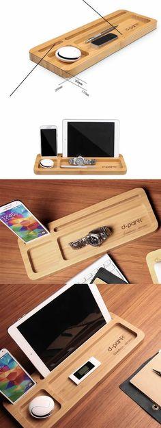 Wooden Stationery Desk Organizer Phone iPad Stand Holder Pen Holder