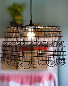 metal basket light...above kitchen sink?