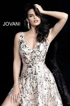 329fb1c651 Blush fit and flare short sequin embellished V back dress. jovani Blush  Embellished V Neck Sleeveless ...
