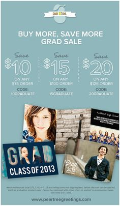 Buy More, Save More grad sale! Save up to $20 on your order - anything from invitations to napkins to graduation party decorations to thank you cards! Click the image to start shopping!