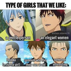 Seirin's Type! Part 1/2 Are you their type?? . . . I'm a bit of Kuroko's type xD but definitely kawahara and furihata's type xD lol . . . All of this are legit facts of them same with the other teams..from their character profile #kuroko #kurokotetsuya #kagami #kagamitaiga #tetsuyakuroko #taigakagami #furihata #furihatakouki #kawahara #fukuda #seirin #seirinhigh #knb #kurobasu #kurokonobasuke #kurokonobasket #thebasketballwhichkurokoplays #anime #manga #animefacts #kurokonobasuke_facts