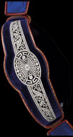 Alt view w/box: Art Deco Diamond Diadem. Diamond total weight 29 carats.
