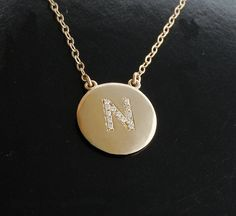 Initial Diamond Pendant Necklace via Etsy.