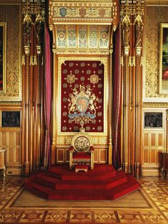 Throne in the Queen's Robing Room, Palace of Westminster, United Kingdom (mid-19th c.).