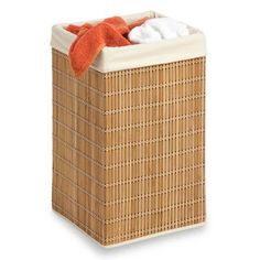 Honey Can Do Square Bamboo Wicker Hamper with Liner | Wayfair $27 for towels our room