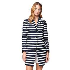 Gant Women's Striped Paletot Coat Evening Blue