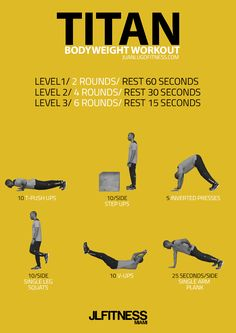 TITAN-BODYWEIGHT-WORKOUT-  No dumbbells, no barbells, no machines. The Titan Bodyweight Workout uses 6 exercises that will challenge your entire body to maximize calorie burn. Click on the infographic to download the interval timer for your convenience.   #workouts #visualworkout #bodyweight