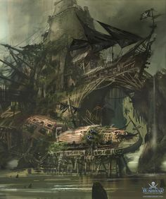 For their end term project, our students at Digital Arts and Entertainment had to design a pirate island based on a small backstory. Here are some of the many concepts I did for the pirate island. (During the concept stages I came up with an fictional Fantasy Concept Art, Fantasy Map, Fantasy World, Fantasy Art Landscapes, Fantasy Landscape, Landscape Art, Pirate Island, Pirate Art, Pirate Adventure