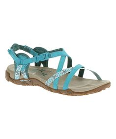 Look at this #zulilyfind! Merrell Algeirs Blue Terran Lattice Leather Sandal by Merrell #zulilyfinds