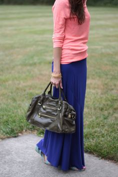 Colored maxi skirt with a contrasting 3/4-sleeve t or sweater.