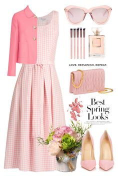 """""""Gingham spring"""" by jan31 ❤ liked on Polyvore featuring HVN, Karen Walker, Miu Miu, Chanel, H&M, National Tree Company, Christian Louboutin, Spring, Pumps and sunglasses"""